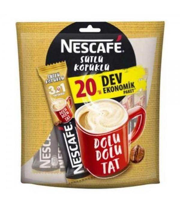 Nescafe 3'ü 1 Arada Sütlü Köpüklü 20'li