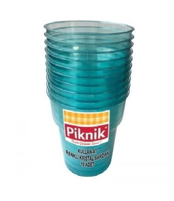 Piknik Renkli Kristal Bardak 10'lu