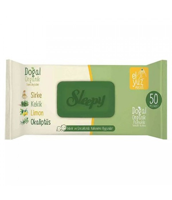 Sleepy Doğal Organik Pamuklu Islak Havlu 50'li